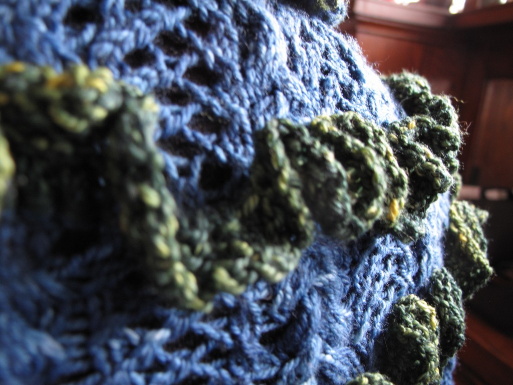 A peek!  The green ruffles have a lot of stitches, the largest with 918 at the widest part. Be warned!