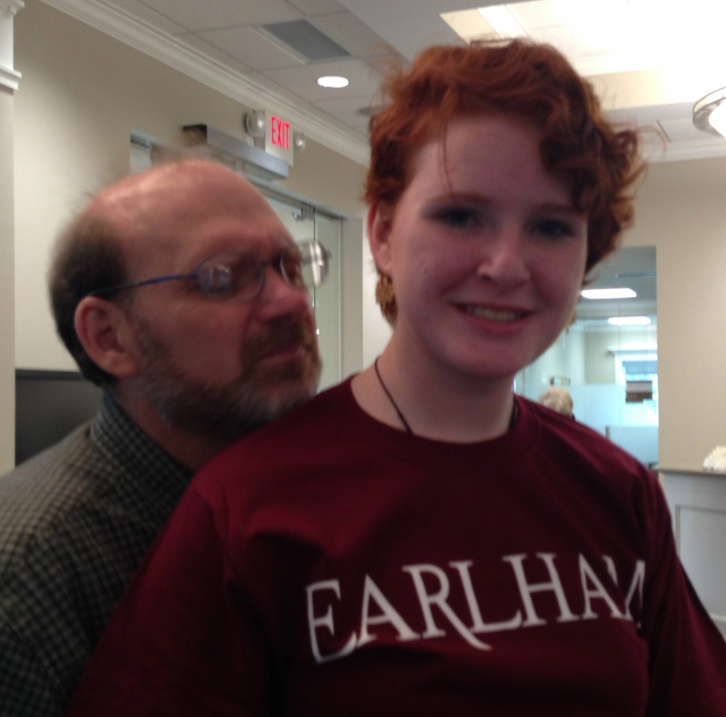 Gerry & his tall daughter visiting Earlham