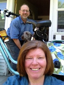 My bike, my man, my dog and my new haircut!
