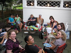 My Knitting Group on our Back Porch